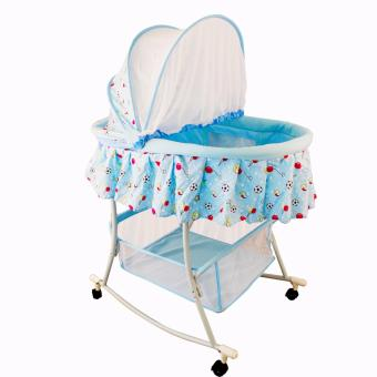 WyonBaby Multifunctional Baby Cradle Bed/Crib/Rocker with LargeStorage Basket (Sports Blue)