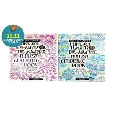 Zen Fun And Joy Adult Anti Stress Coloring Book Large Set Of 2 Pink Green