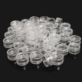 50Pcs 5g 5ml Clear Empty Cosmetic Jar Pot Eyeshadow Makeup Face Cream Containers - intl