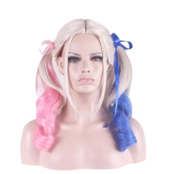 Blue and Pink Long Ponytail Wigs for Cosplay Party Suicide Squad Harley Quinn Cosplay Wigs - intl