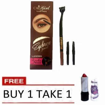 BUY 1 TAKE 1 Cat Girl 3 Color Brown Eyebrow Pencil + Lipstick 38g