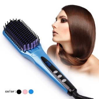 Fast Heating LCD Electric Hair straightener Brush Comb Fast Brush Hair Straightener Iron Flat iron Brush Straight Comb - intl