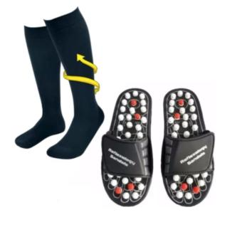 Miracle Socks Anti-Fatigue Compression Socks (Black) WithAcupuncture Foot Reflex Massage Slippers