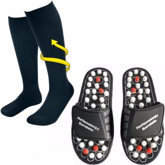 Miracle Socks Anti-Fatigue Compression Socks (Black) WithXZY-Acupuncture Foot Reflex Massage Slippers
