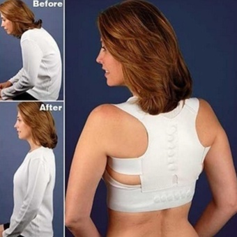 Moonar Adjustable Magnetic Posture Support Corrector Back Pain Brace Belt ( white+S ) - intl