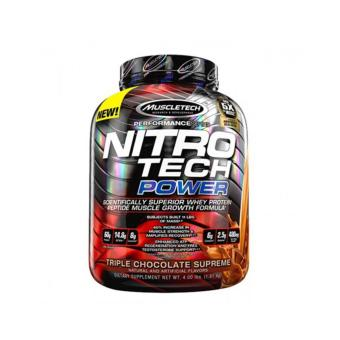 Muscletech Nitro-Tech Power: Muscle and Strength Amplifying ProteinPowder - 4lbs - Triple Chocolate Supreme
