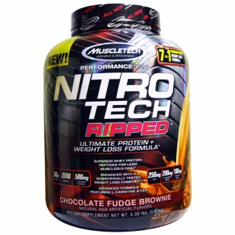 Muscletech Nitro-Tech Ripped: Superior Fat-Burning Whey Protein -4lbs - Chocolate Fudge Brownie
