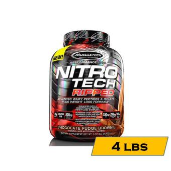 Muscletech Nitro-Tech Ripped: Superior Fat Burning Whey Protein - 4lbs - Chocolate Fudge Brownie