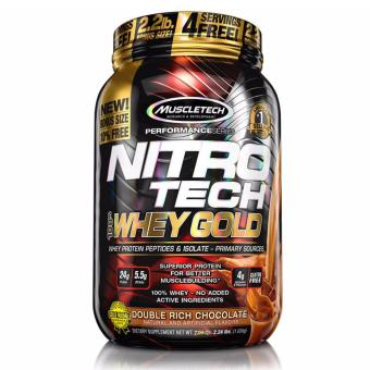 Muscletech Nitrotech Performance Series 100% Whey Gold Premium Protein Powder 2.2 lbs (Double Rich Chocolate Flavor)