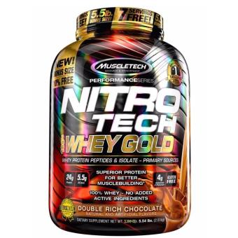 Muscletech Nitrotech Performance Series 100% Whey Gold Premium Protein Powder 5.5 lbs (Double Rich Chocolate Flavor)