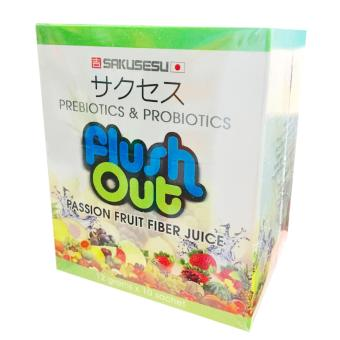 Sakusesu Japan FLUSH OUT Prebiotics & Probiotics Passion FruitHigh Fiber Drink 12 grams (10 packs)