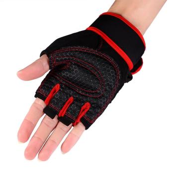 2 Pcs Weight Lifting Gym Training Fitness Gloves(Red/XL) - intl