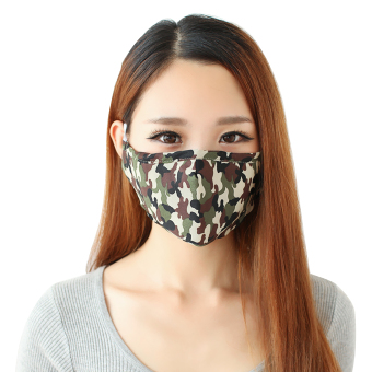 3 x Greenery Cotton and Active Carbon Filtering Mask with earloopsAnti Dust Anti Virus Flu Face Mouth Mask Reusable Mask to PreventDust and Pollution (Camouflage) - intl