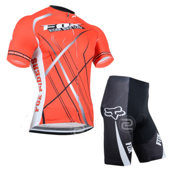 Cycling Set FOX Short Sleeve Jersey Sportswear Bike Cycling Pant Shorts (Orange)