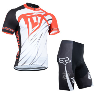 Cycling Set FOX Short Sleeve Jersey Sportswear Bike Cycling PantShorts (White)
