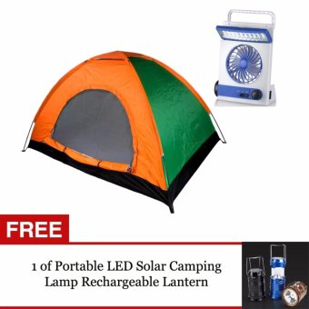 G@Best 4 Person Automatic Family Camping Tent and 3 in 1 Solar Power Rechargeable LED Light Fan (Blue) with FREE 1 of Portable LED Solar Camping Lamp Rechargeable Lantern