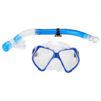 Jo.In Scuba Diving Equipment Dive Mask + Dry Snorkel Set Scuba Snorkeling Gear Kit (Blue)