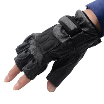 Sport Motorcycle Gloves Leather Racing Moto Cycling Motocross GloveMotorbike Protective Half Finger - intl