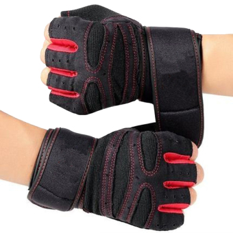 Weight Lifting Gym Fitness Gloves with Wrist Wrap and Grip - ForMen's and Women's - Half-Finger Design Padded Breathable WashableQuality Material Red L - intl