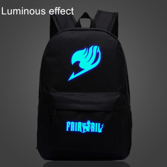 18.5inch Anime FAIRY TAIL Logo Black Luminous Effect Shoulder BagCanvas Backpack for Teenagers Sport School Bag