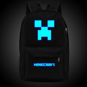 18.5inch Minecraft Logo Teenagers Backpacks Night-luminous Barcelona Travel Bags School Bag Shoulder Bags Gift for Boys Girls - intl
