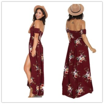 2017 Boho style Summer Dress Women Off The Shoulder Sexy Split Dress Floral Print Wrapped Chest Long Dress - intl