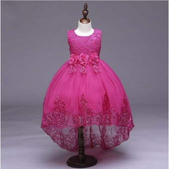 2017 Flower Girls Kids Baby Lace Dress Formal Bridesmaid Princess Wedding Party Christening Gown For 3-8 years (rose red) - intl