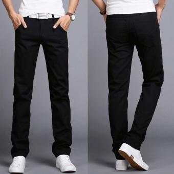 2017 Men Business Casual Slim Fit Pants Mid-Waist Solid Trousers Fashion Mens Straight Cargo Pants Male Chino Lightweight -Black - intl