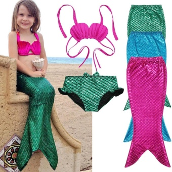 2017 New 3PCS Girl Kids Mermaid Tail Swimmable Swimwear SwimsuitGirls Bikini Set Bathing Suit Fancy Costume 3-9Y size 100-150 -intl