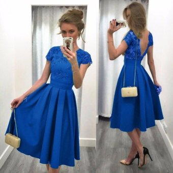 2017 Women Summer Sexy Gown Prom Party Dress Casual Dresses (Blue) - intl