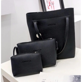 221 Women's PU Leather Handbag+Shoulder Bag+Tote Purse 3pcs Set Black