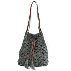 360DSC Women Hook Tassel Bucket Bag Ladies Straw Plaiting Bag Handbag - Army Green - Intl