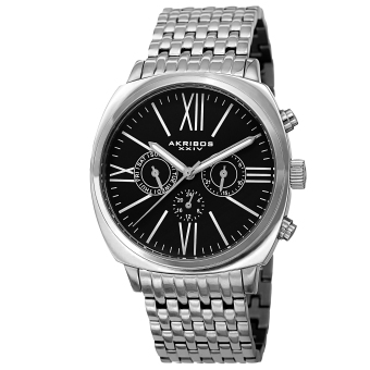 Akribos XXIV Men's Silver Stainless Steel Strap Watch AK636SSB