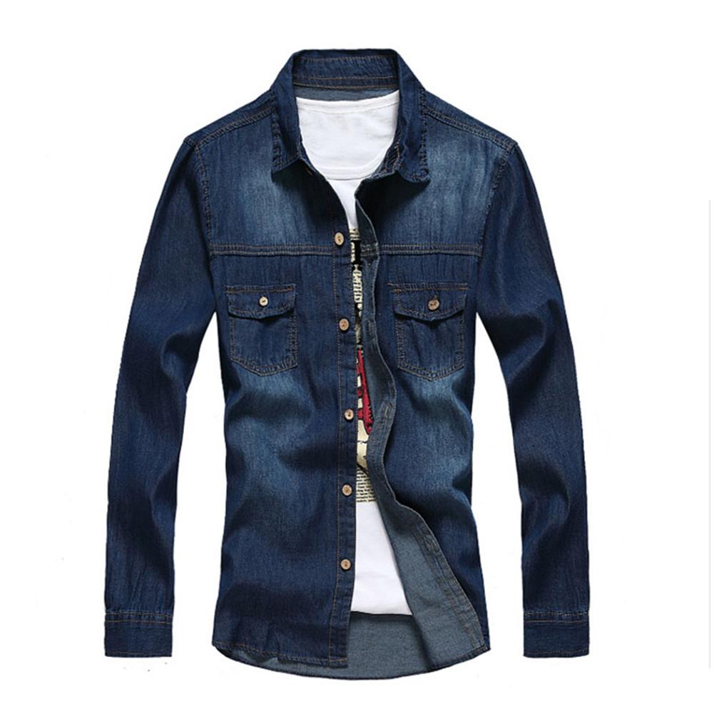 Mens jacket lazada - Amart Fashion Men Long Sleeve Denim Shirt Mens Casual Jacket Intl Lazada Ph