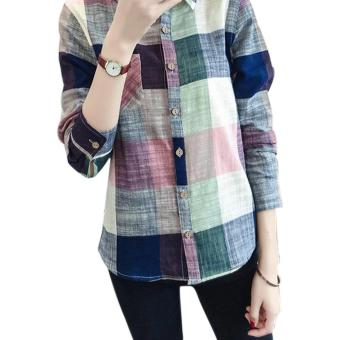Amart New Fashion Women Plaid Blouse Casual Long Sleeve Cotton Linen Slim Fit Tops(Blue) - intl