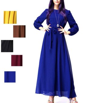 Amart Summer Women Muslim Dresses Chiffon Long Sleeve Casual Dress(Blue) - intl