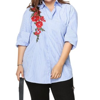 Amart Women Embroidered Shirts Lapel Collar Long-sleeved Shirt Loose Striped Shirts Tops Plus Size - intl