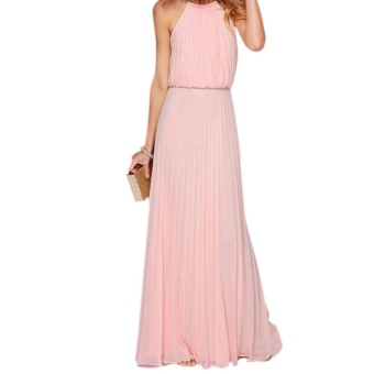 Amart Women Summer Beach Chiffon Sexy Off Shoulder Maxi Dress Long Pleated Dresses For Evening Party - intl