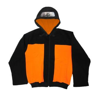 Anime - Naruto Jacket with konoha headgear sign hood ( Orange )