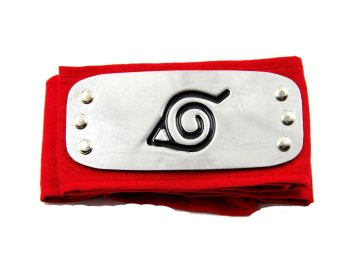 Anime Naruto Konoha Village Ninja Cosplay Headband ForeheadProtector (Red)