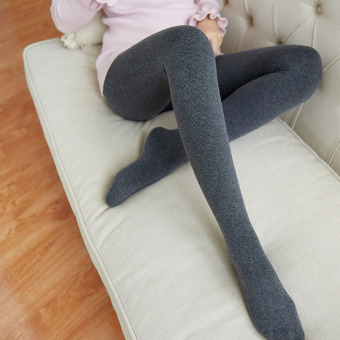 Autumn and Winter Korean Plus velvet black bars stockings leggings (210g thin cashmere even socks dark gray color)