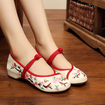 Autumn New style buckle flat embroidered shoes (D m Meihua)