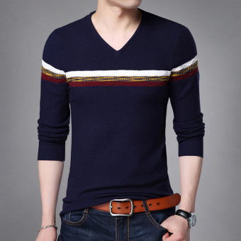 Autumn New style v-neck men's T-shirt (8342 dark blue) (8342 dark blue)