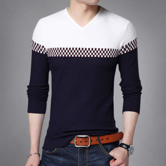 Autumn New style v-neck men's T-shirt (8343 dark blue) (8343 dark blue)