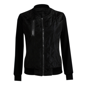 Autumn Winter Casual Bomber Zipper Quilted Jacket Coat(Black)