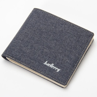 Baellerry Canvas Short Paragraph Mini Wallet Male Wallet -Blue - intl