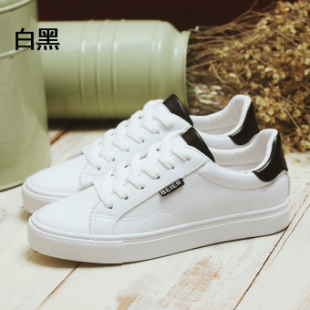 Bair Korean-style leather female student women's shoes BayMini shoes (Q1-6827 white and black)