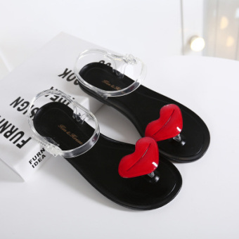 Beach plastic open toed Plus-sized slippers flat sandals (Black)