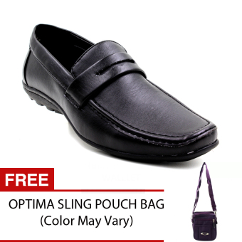 black tag 1309 34 leather shoes with free sling pouch
