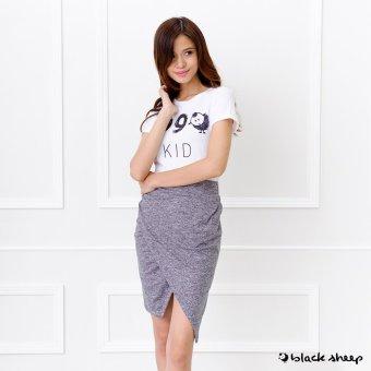 Blacksheep Knit Origami Pencil Skirt (Gray)